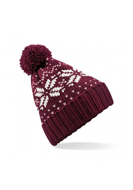 Burgundy and White Bobble Hat