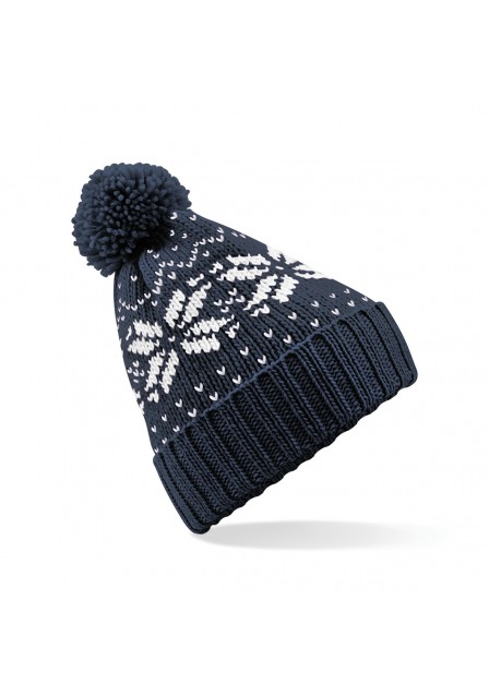 French Navy and White Bobble hat